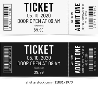 Classical white and black tickets