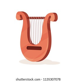 Classical wooden lyre with metal strings. Stringed musical instrument. Small U-shaped harp. Flat vector icon