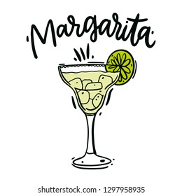 Classics Margarita hand drawn vector illustration and lettering. Isolated on white background.