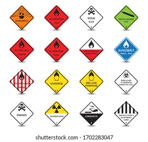Classification of dangerous goods.Warning sign of Globally Harmonized System.Transport Hazard.