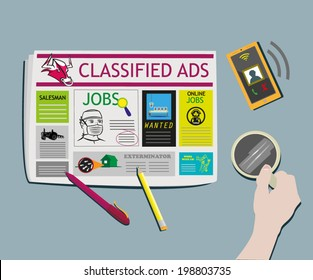 Classified Ads Newspaper concept Top View vector