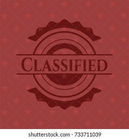 Classified red emblem. Vintage.