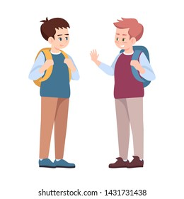 Classmates saying goodbye flat vector illustrations. Schoolmates, schoolboys talking isolated cartoon characters. Boys after school lessons. Preteen schoolchildren with backpacks communicating