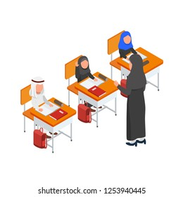 Classroom Activity Studying in School Teacher and Students Vector Isometric