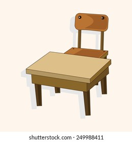 classroom desk and chair theme elements vector,eps