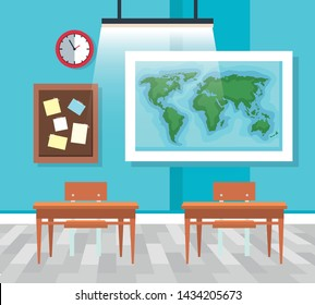 classroom with global map and note board with desks