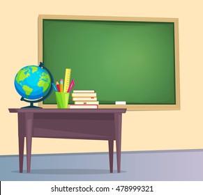 Classroom with green chalkboard, teachers desk. Vector illustration flat style.