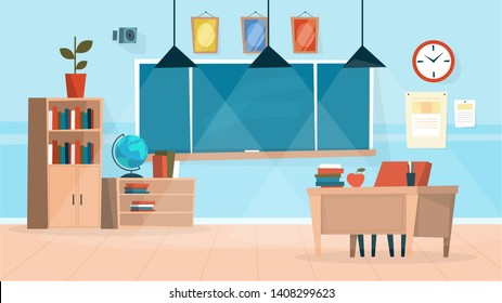 Classroom interior. Chalkboard and teacher desk with chair. Elementary school or college space design. Empty room, blank space on the board. Vector illustration in cartoon style