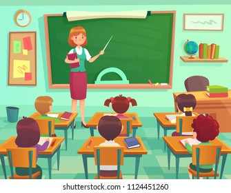 Classroom with kids. Teacher or professor teaches students in first grade elementary school class or little children preschool studying. Student learn on lessons indoor cartoon vector illustration