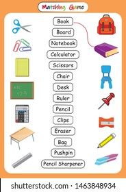 Classroom Objects in English, Learn school Vocabulary, matching school objects with their pictures