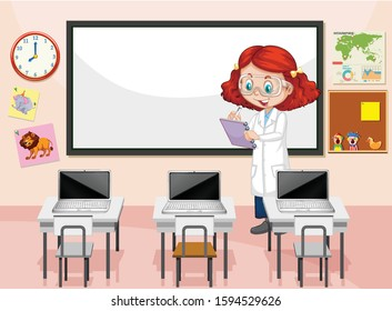 Classroom scene with science teacher writing notes illustration