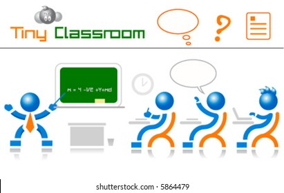 classroom students and teacher icons