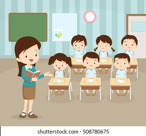 classroom with teacher and pupils.Teacher teaching Students In Class,World Book Day,Back to school,Stationery,Book,Children, Supplies, Educational Subject.cute pupil are learning.