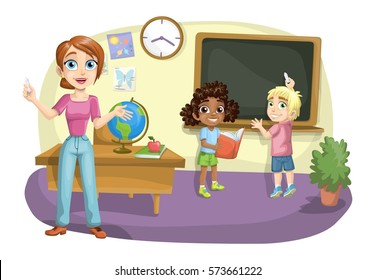 Classroom with teacher and two kids at the blackboard