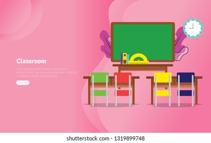 Classsroom Concept Educational and Scientific Illustration Banner, Suitable For Wallpaper, Banner, Background, Card, Book Illustration or Web Landing Page, and use for marketing, business or promotion