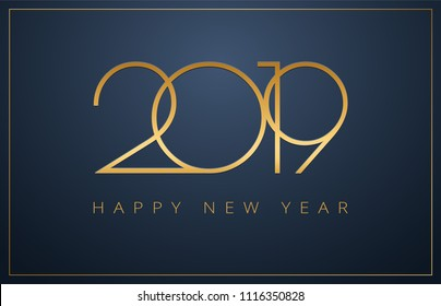 Classy 2019 Happy New Year background. Golden design for Christmas and New Year 2019 greeting cards. Vector background in gold and dark blue color