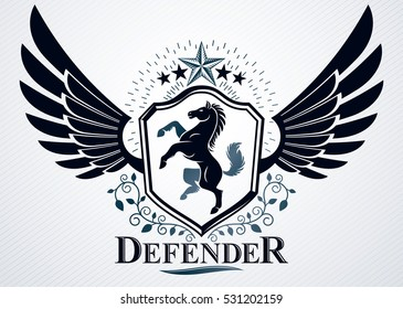 Classy emblem made with eagle wings decoration, horse and pentagonal star symbols. Vector heraldic Coat of Arms.