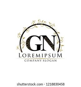 Classy Floral Gold GN Letter Logo