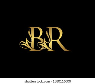 Classy  letter B, R and BR  Vintage Gold Floral Logo Icon. Classy Letter Logo Icon.