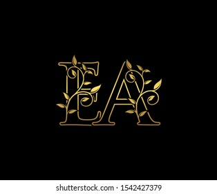 Classy  letter E , A and EA  Vintage Gold Floral Logo Icon, overlapping monogram logo, elegant luxury GOLD color on black background. Classy Letter Logo Icon.