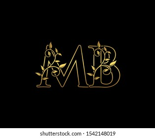 Classy  letter M , B and MB  Vintage decorative ornament emblem badge, overlapping monogram logo, elegant luxury gold color on black background