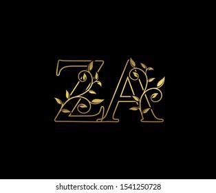 Classy letter Z and A, ZA, vintage decorative ornament emblem badge, overlapping monogram logo, elegant luxury  gold color on black background.