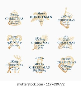 Classy Merry Christmas and Happy New Year Abstract Vector Signs, Labels or Logo Templates Set. Hand Drawn Reindeer, Tree, Snowman, Cookie, Candy Canes and Sock Sketches with Retro Typography. Isolated