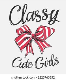 classy slogan with stripe ribbon illustration