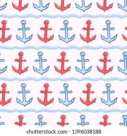 Classy stripe anchor with rope seamless vector pattern. Hand drawn ocean sailing regatta stripes. All over print for nautical graphic textiles, Maritime ocean classic beach wear, sailor home decor.
