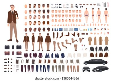 Classy stylish man in suit creation set or constructor kit. Bundle of body parts, poses, faces, emotions, formal clothes. Male cartoon character. Front, side, back views. Flat vector illustration.