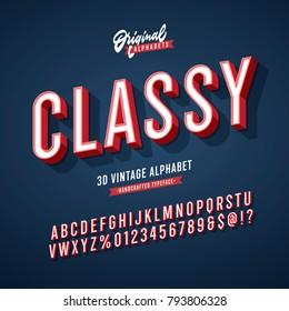 'Classy' Vintage 3D Sans Serif Condensed Alphabet with Rich Colors. Retro Typography. Vector Illustration.