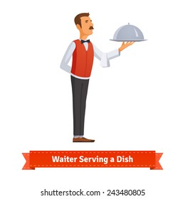 Classy waiter in a bow-tie serving a dish in a silver platter with lid. Flat style illustration.