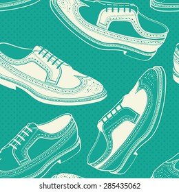 Classy Wingtip / Longwing Brogue leather shoes for man seamless pattern in vector