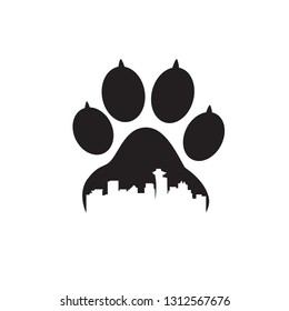 claw dog with city illustrations