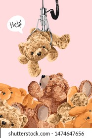 claw machine crane pulling bear toy from pile of bear toy illustration
