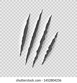 Claw marks. Claws scratches, cat and tiger, lion and bear animals paws attack tracks. Halloween monster, horror marking vector scratching set