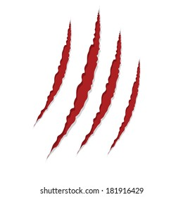 claw scratches isolated on white background, vector illustration