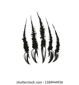 Claw scratches or wild animal paw torn marks. Vector sharp nails slashes or scars with laceration and torn shreds. Dangerous monster or beast attack theme, also tattoo design template