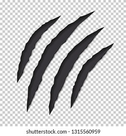 Claws monster scratches on a transparent background. Сoncept of predator attacks. Vector illustration. Diagonal trace of four claws tearing the image on the screen. Realistic destruction design.