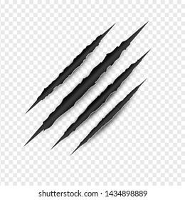 Claws Scratches isolated on transparent white background. Creative paper craft and cut style.Minimal danger damage symbol element.Texture slash horror monster.Scary laceration.vector illustration