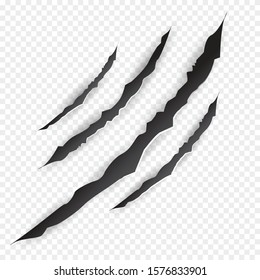 Claws scratches.  Vector bear or tiger paw claw scratch trace. Shredded paper.Halloween monster, horror marking vector scratching set. Claw marks. Vector illustration EPS10