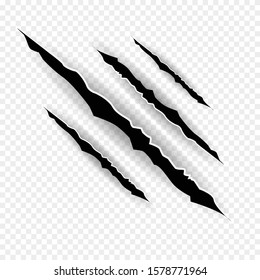 Claws scratches - vector isolated on transparent background.   Shredded paper.Halloween monster, horror marking vector scratching set.