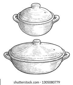 Clay baking pot illustration, drawing, engraving, ink, line art, vector
