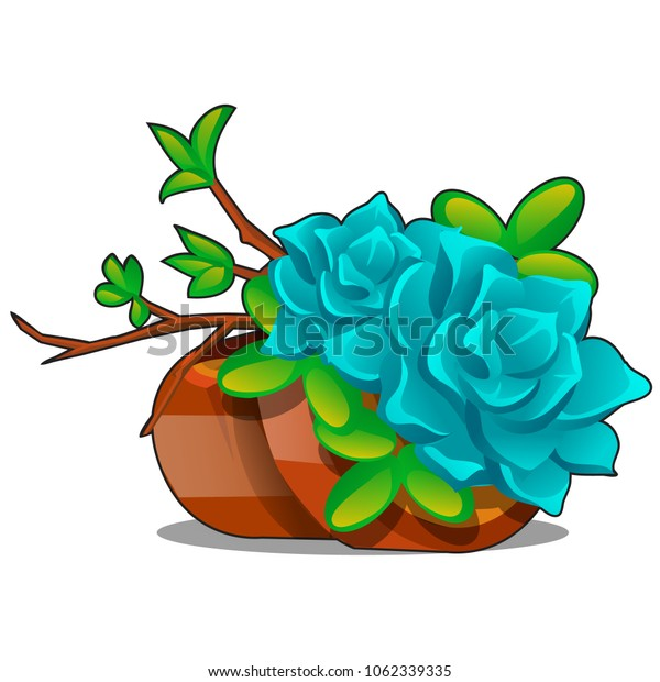 Clay flower pots with a composition of twigs and succulents isolated on a white background. Home potted plants. Vector cartoon close-up illustration.