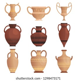 Clay jug. Ancient amphora with pattern greek cup and other vessel vector cartoon pictures isolated