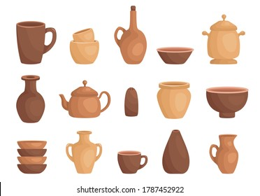 Clay kitchenware assortment set. Cup, mug, vessel, jug, plate, pot, vase, kettle, pepper or salt shaker. Ceramic utensil, crockery, cookware, dishes. Vector clay dishes isolated on white.