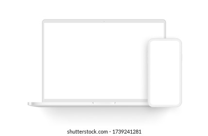 Clay laptop computer and mobile phone isolated on white background. Vector illustration