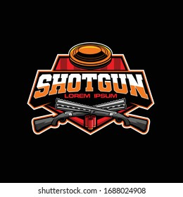 clay pigeon shooting sport vector logo template