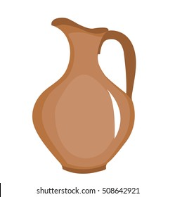 Clay pitcher icon. Brown jug, flat style. Jug isolated on white background. Pitcher logo. Vector illustration