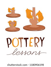 Clay Pottery Lessons. Artisanal Creative Craft logo concept. Handmade traditional pottery making, hands shaping vase on spinning wheel red clay; hand drawn vector illustration sketch doodle style